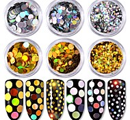 6 цвет круглой формы размер лазера красочные золото и серебро блестки 1g / box