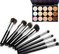 Недорогие -8шт серебра черной ручкой косметический набор кисти макияж&15 цветов маскируют естественный маскирующее / фундамент / бронзатор