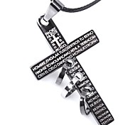 Men's Choker Necklaces Pendant Necklaces Cross Leather Titanium Steel Personalized Cross Jewelry For Casual Going out