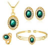 Femme Mode Bling Bling Soirée Zircon Plaqué Or Rose Alliage Balle Bracelet Collier Boucles d'oreille Bague