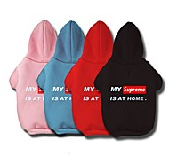 Dog Hoodie Dog Clothes Casual/Daily Letter & Number Black Red Blue Pink Costume For Pets