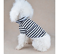 cheap -Dog Shirt / T-Shirt Dog Clothes Stripe Orange Yellow Red Green Blue Cotton Costume For Pets Men's Women's Casual/Daily