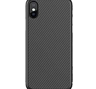 abordables -Funda Para Apple iPhone X iPhone 8 iPhone 8 Plus Ultrafina Diseños Funda Trasera Líneas / Olas Dura Fibra de carbon para iPhone X iPhone