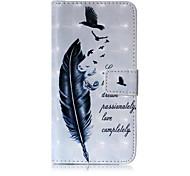 Недорогие -Кейс для Назначение SSamsung Galaxy A5(2017) A3(2017) Кошелек Бумажник для карт со стендом Флип С узором Чехол  Перья Твердый