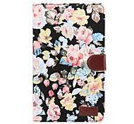 Недорогие -Кейс для Назначение SSamsung Galaxy Tab A 8.0 (2017) Бумажник для карт со стендом Флип Чехол Цветы Твердый текстильный для Tab A 8.0