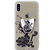 cheap -Case For Apple iPhone X iPhone 8 Ring Holder Transparent Pattern Back Cover Sexy Lady Flower Soft TPU for iPhone X iPhone 8 Plus iPhone 8
