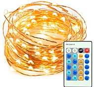cheap -33ft 100 LED String Copper Wire Lights Dimmable with Remote Control Waterproof Decorative Lights for Bedroom Garden Parties Wedding Warm White