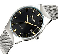 BOSNI Men's Wrist watch Quartz Calendar / date / day Water Resistant / Water Proof Alloy Band Vintage Casual Silver