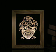 cheap -1 Set Of 3D Mood Night Light LED Lights USB Bedroom Photo Frame Lamp Gifts Jade Cabbage