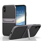 cheap -Case For Apple iPhone X iPhone 8 with Stand Back Cover Solid Color Hard Carbon Fiber for iPhone X iPhone 8 Plus iPhone 8 iPhone 7 Plus