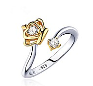 cheap -Men's Women's Couple Rings Cubic Zirconia One-piece Suit Gold White Gold Plated Crown Fashion Other Gift Costume Jewelry