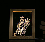 cheap -1 Set Of 3D Mood Night Light LED Lights USB Bedroom Photo Frame Lamp Gifts Warrior