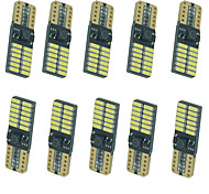 10pcs LED Parking Stop Lighting T10 24 SMD 4014 White/Blue/Yellow Universal CANBUS Error Free Car Side Bulbs DC10-13V