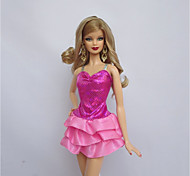 For Barbie Doll Pink Dress For Girl's Doll Toy