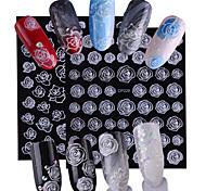 abordables -2pcs/set Autocollant pour ongles Modèle d'estampage d'ongles Nail Art Design Fleur / Décalques pour ongles