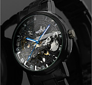 cheap -WINNER Men's Wrist Watch Mechanical Watch Automatic self-winding Stainless Steel Black 30 m Hollow Engraving Analog Luxury Classic Casual - Black Blue / Black Silver / Red