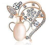abordables -Mujer Broche Cristal Clásico Moda Diamante Sintético Legierung Botella Dorado Plata Joyas Para Diario