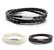 cheap -Men's Women's Leather Wrap Bracelet - White Black Coffee Bracelet For Daily