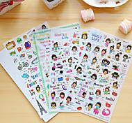 4 шт / набор мультфильм девушка дневник стикер телефон стикер записки наклейки