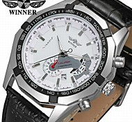 WINNER Men's Fashion Watch Dress Watch Wrist watch Automatic self-winding Calendar / date / day Leather Band Casual Cool Black