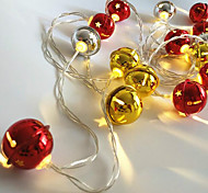 cheap -1pc 20 LEDs LED String Light Bell Shape Gold & Silver Color(No Red Color) 3*AA Battery Powered Without Battery