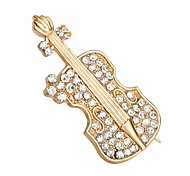 cheap -Women's Brooches Rhinestone Simple Fashion Imitation Diamond Alloy Guitar Gold Jewelry For Daily