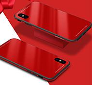 Недорогие -Кейс для Назначение Apple iPhone X iPhone 8 Защита от удара Зеркальная поверхность Кейс на заднюю панель Сплошной цвет Твердый Закаленное