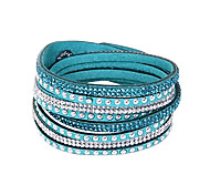 cheap -Women's Leather Rhinestone Multi Layer Bangles Leather Bracelet Wrap Bracelet Tennis Bracelet - Basic Friendship Long Multi Layer Fashion
