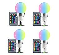 Недорогие -4шт 3W 250lm E27 Круглые LED лампы 3 Светодиодные бусины SMD Декоративная На пульте управления RGB + белый 85-265V