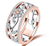cheap -Women's Band Rings Synthetic Diamond Formal European Fashion Copper Glass Circle Geometric Flower Jewelry Wedding Party