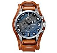 baratos -Homens Relógio Casual Relógio de Moda Relógio de Pulso Chinês Quartzo Calendário Relógio Casual Mostrador Grande Couro Banda Casual Legal