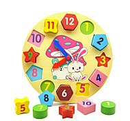cheap -Wooden Clock Toy Educational Toy Toys Geometric Education Wooden Children's Pieces