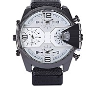 cheap -Men's Wrist watch Chinese Quartz Three Time Zones Casual Watch Fabric Band Casual Black Dark Green