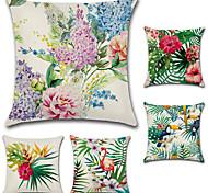 abordables -5 PC Algodón/Lino Cobertor de Cojín, Floral Estilo Bohemio Retro