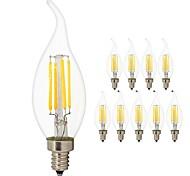 Недорогие -10 шт. 4 Вт. 360 lm E14 LED лампы накаливания C35L 4 светодиоды COB Эдисонская лампа Декоративная Светодиодная лампа Тёплый белый