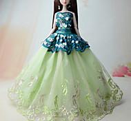 Недорогие -Принцесса Платья Для Кукла Барби Полиэстер Платье Для Девичий игрушки куклы