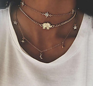 cheap -Women's Bohemian Star Rhinestone Layered Necklace - Bohemian Fashion European Elephant Star Necklace For Street