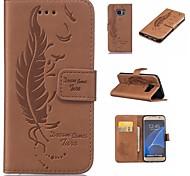 Недорогие -Кейс для Назначение SSamsung Galaxy S7 edge S7 Бумажник для карт Кошелек со стендом Флип Рельефный  Перья Твердый для