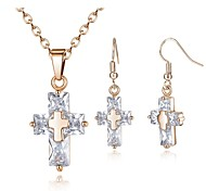cheap -Women's Cubic Zirconia Jewelry Set - Zircon Cross Simple, Fashion Include Drop Earrings / Pendant Necklace Gold / Silver For Daily