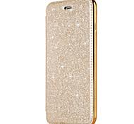 Недорогие -Кейс для Назначение Apple iPhone X iPhone 8 Бумажник для карт Покрытие Флип Чехол Сплошной цвет Сияние и блеск Твердый Искусственная кожа