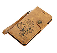 cheap -Case For Huawei P8 Lite (2017) P10 Lite Card Holder Wallet with Stand Flip Magnetic Pattern Flower Hard for