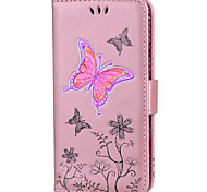 cheap -Case For Touch 5 6  Card Holder Wallet with Stand Flip Full Body Butterfly Glitter Shine Hard PU Leather fou Touch 5 6