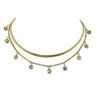 Недорогие -Жен. В форме линии форма Простой Классический Слоистые ожерелья , Стразы Сплав Слоистые ожерелья Повседневные Новый год Бижутерия