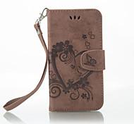 Недорогие -Кейс для Назначение Nokia Lumia 650 Lumia 640 Бумажник для карт Кошелек со стендом Флип Рельефный Чехол Сплошной цвет Бабочка Твердый