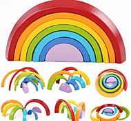 Недорогие -7 Colors Wooden Stacking Rainbow Shape Конструкторы 7pcs Бык Взаимодействие родителей и детей утонченный Семья Игрушки Игрушки Подарок