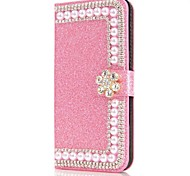 cheap -Case For Samsung Galaxy S9 S9 Plus Card Holder Wallet Rhinestone with Stand Flip Magnetic Full Body Cases Flower Glitter Shine Hard PU