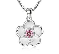 cheap -Women's Cubic Zirconia Zircon Pendant Necklace - Zircon Alloy Fashion Sweet Flower Necklace For Party Daily