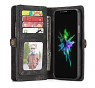 cheap -Case For Apple iPhone X iPhone 8 Card Holder Wallet Flip Full Body Cases Solid Color Hard Genuine Leather for iPhone X iPhone 8 Plus