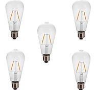 cheap -5pcs 2W 180 lm E26/E27 LED Filament Bulbs ST64 2 leds COB Decorative Warm White Cold White 220-240V