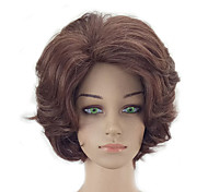 cheap -Synthetic Wig Kinky Curly Layered Haircut Natural Hairline Brown Women's Capless Natural Wigs Short Synthetic Hair